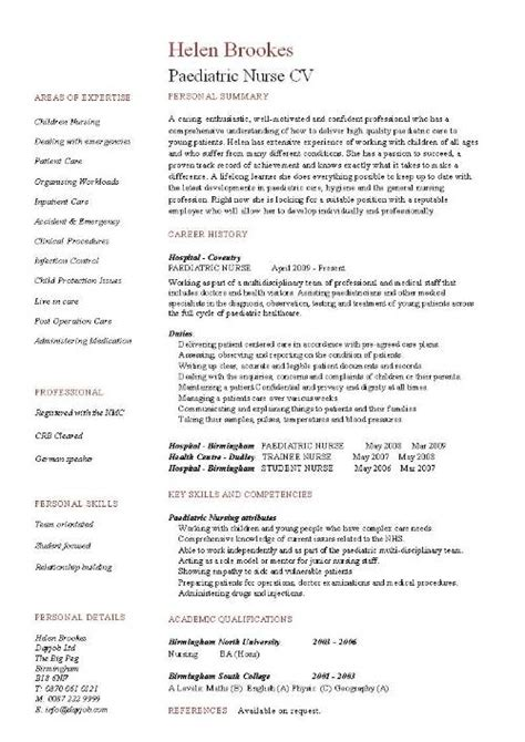 Exle Resumes For Pediatric by Pediatric Resume Uxhandy
