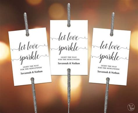 printable sparkler send  sign tags set wedding
