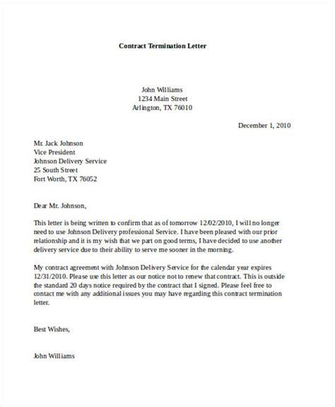 contract termination letter 53 termination letter exles sles pdf doc
