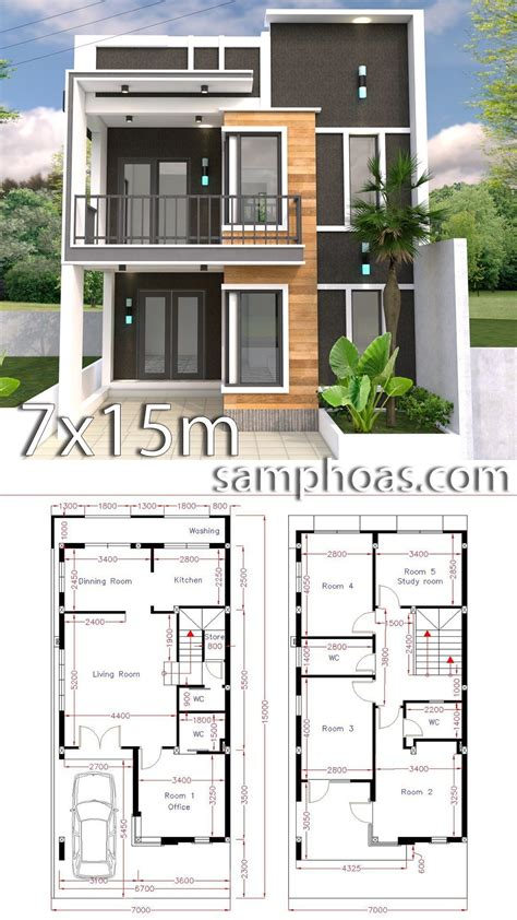Modern House Layout by Home Design Plan 7x15m With 5 Bedrooms Floor Plans