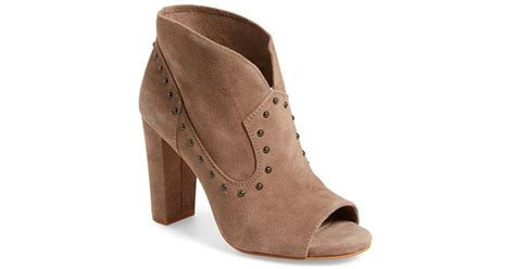 Vince Camuto 'corianne' Studded Open Toe Bootie In Brown