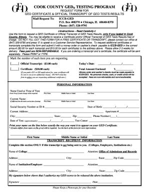 cook county ged transcript request form fill