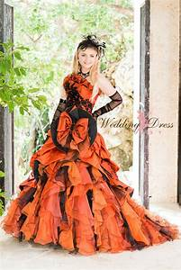 Halloween wedding dress in orange and black wedding dress for Black and orange wedding dresses