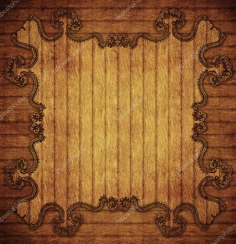 vintage wooden background  ornamental border stock