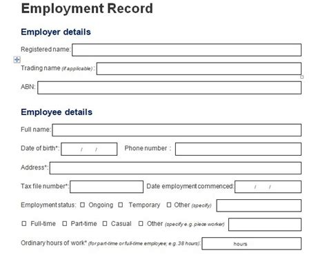 employee information form template  excel