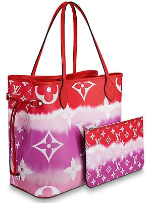 louis vuitton escale neverfull mm red pink tie dye tote handle shoulder bag ebay