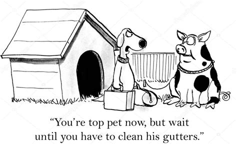 Cartoon Illustration. Pig Will Have To Clean Gutters