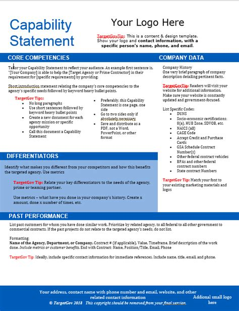 Capabilities Statement Template by Capability Statement Editable Template Blue Targetgov