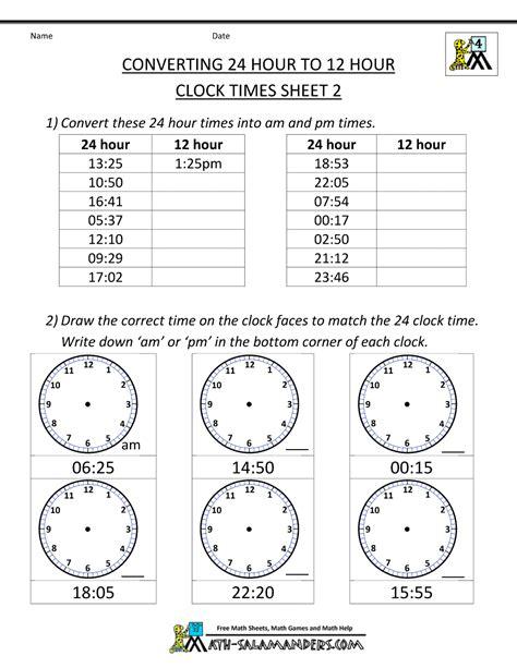 24 hour time conversion 24 to 12 hour clock 2 grade 4