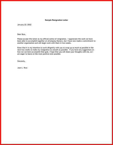 resignation  weeks notice