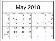 December 2018 calendar printable — May Calendar 2018 Word