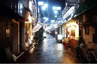 Urban Japan Rain Alley Night Street Tokyo