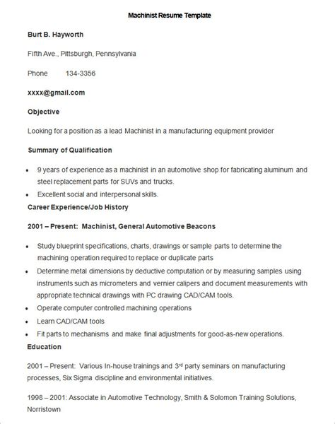 Free Resume Templates For Machinist by Manufacturing Resume Template 26 Free Sles Exles