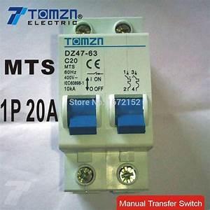 1p 20a Mts Manual Transfer Switch Circuit Breaker Mcb