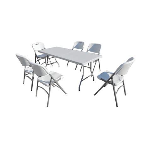 chaises pliantes but ensemble table de jardin pliante 183cm et 6 chaises