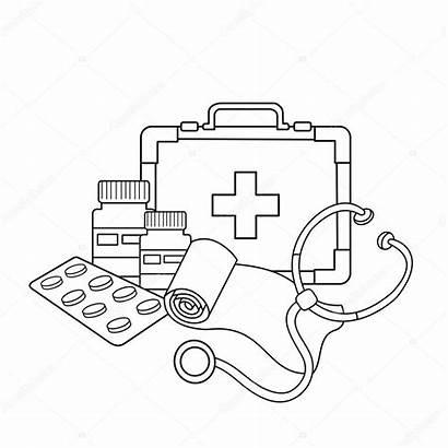 Coloring Medical Outline Instruments Doctor Kit Illustration