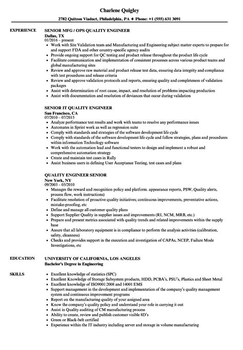 quality engineer senior engineer resume samples velvet