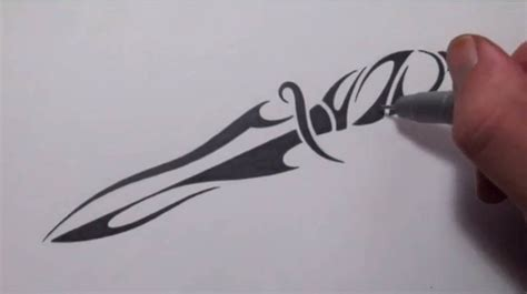 draw  knife tribal tattoo design style youtube
