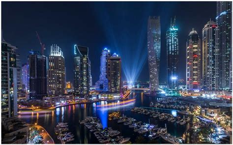 Dubai Marina Night City Wallpaper