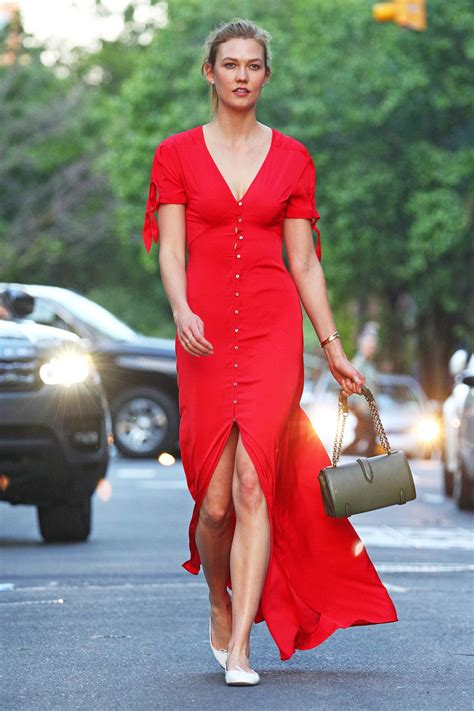 Karlie Kloss Red Dress Out New York