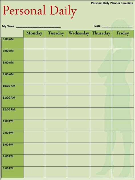 Time Management Diary Template by Daily Planner Template My Work Schedule Templates