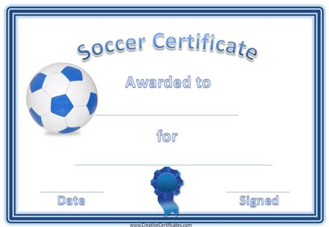 blue ball soccer award certificate