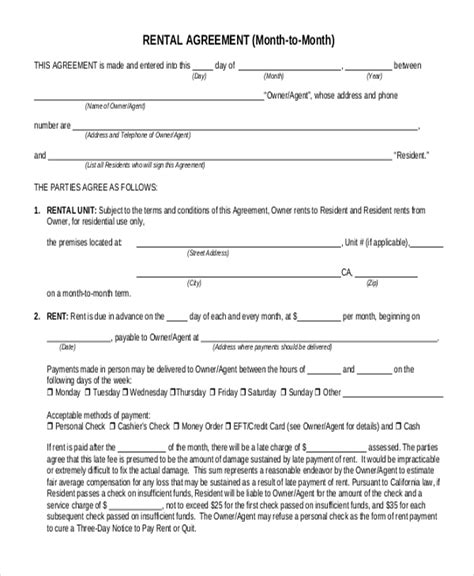 simple rental agreement forms   ms word