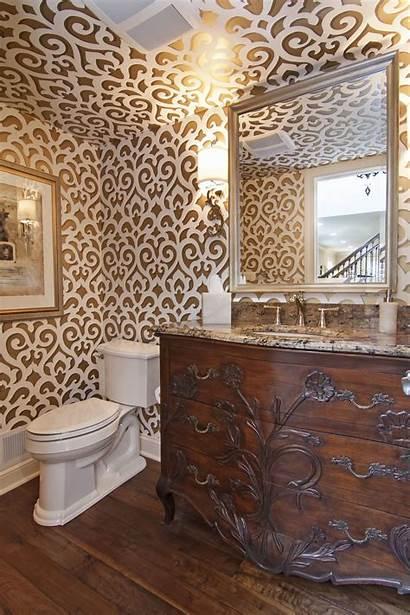Bathroom Powder Vanity Bathrooms Ceiling Toile Schumacher