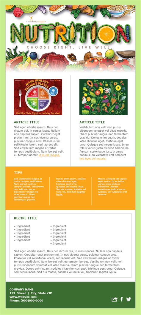 newsletter cuisine nutrition newsletter templates free mloovi