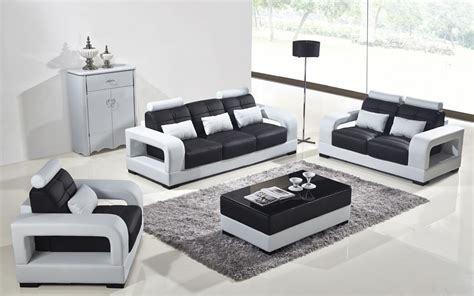 Divani Casa T322b Modern White & Black Eco-leather Sofa Set