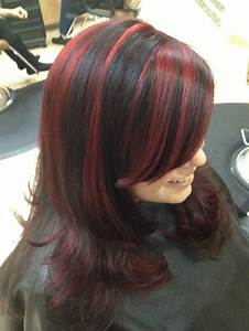 Fun hair. Black with bold red highlights by Joanna ...