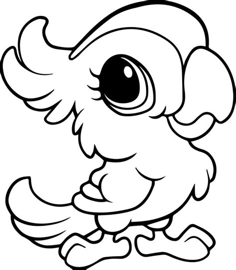 Cute Baby Parrot Coloring Page
