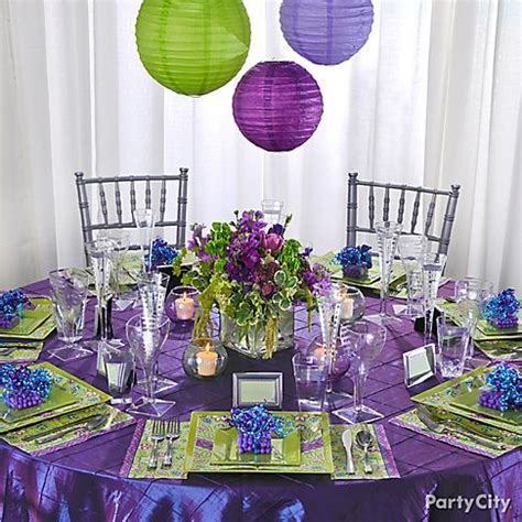 wedding reception  purple  green   statement