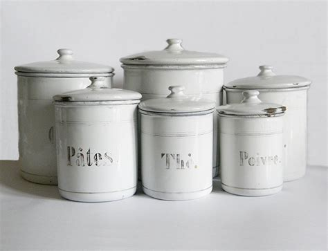 white kitchen canisters enamel canisters 6 vintage enamelware white kitchen