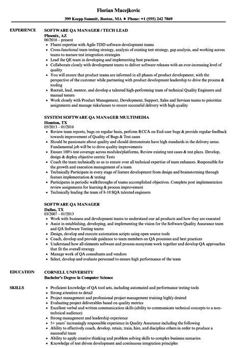 software qa manager resume sles velvet