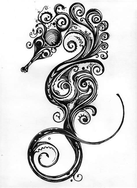 ...Seahorse by Brian Jetton (inspired by Si Scott.) Medium Sharpie on 60 lb. drawing paper