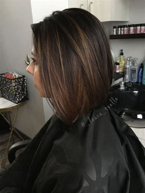 Brown Hair by Brown Hair Caramel Highlights Lob