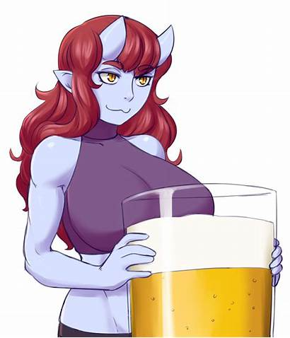 Monster Oni Face Giant Beer Cat Character
