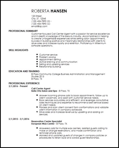 Resume Format For Call Center by Free Entry Level Call Center Resume Templates