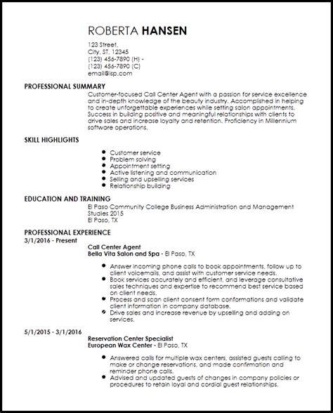 Sle Resume For Call Center Customer Service Representative by Call Centre Customer Service Resume Call Center