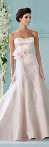 strapless satin fit and flare wedding dress david tutera With satin fit and flare wedding dress