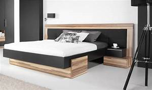 Lit 3 Personnes : lit bois design noir adulte 2 places t te de lit large ~ Teatrodelosmanantiales.com Idées de Décoration