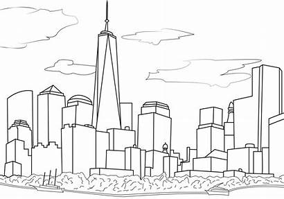 Coloring Pages York Adults Drawing Skyline Easy