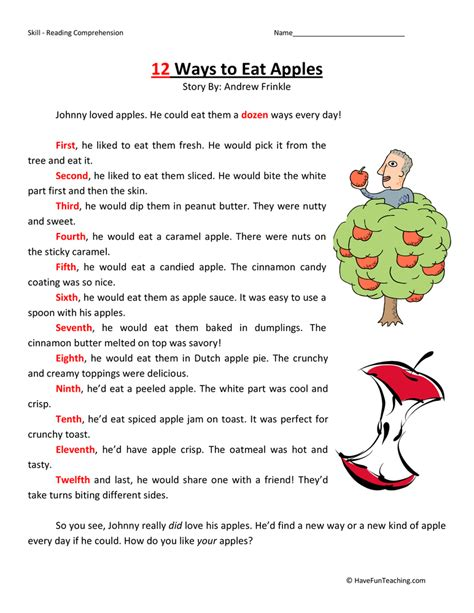 reading comprehension worksheet 2nd grade kidz activities