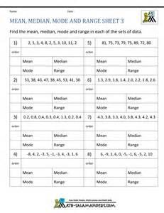 median mode range worksheets - Worksheet On Median Mode