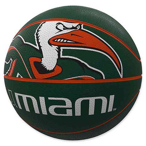university  miami mascot official size rubber basketball