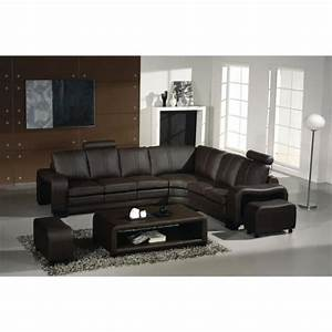 Canapé D Angle Avec Tetiere : canap d 39 angle en cuir marron avec t ti res relax achat vente canap sofa divan cuir ~ Melissatoandfro.com Idées de Décoration