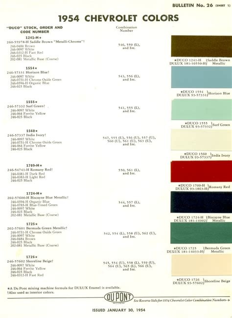 1953 1954 chevrolet paint colors