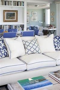 White sofa w blue piping for the home juxtapost for Navy blue sectional sofa with white piping