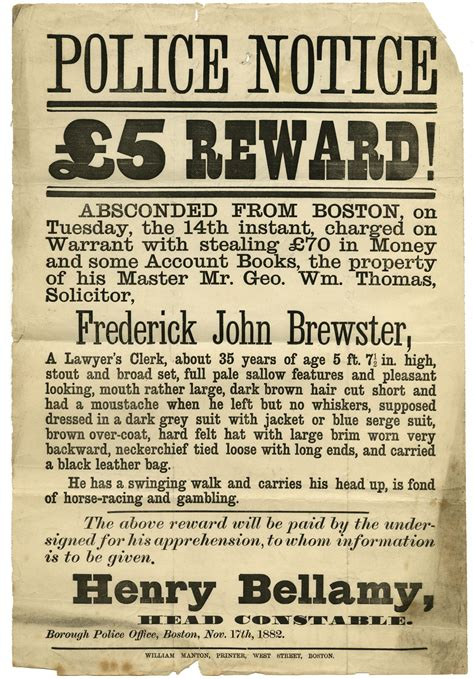 Police wanted poster for Frederick John Brewster, 1882 ...